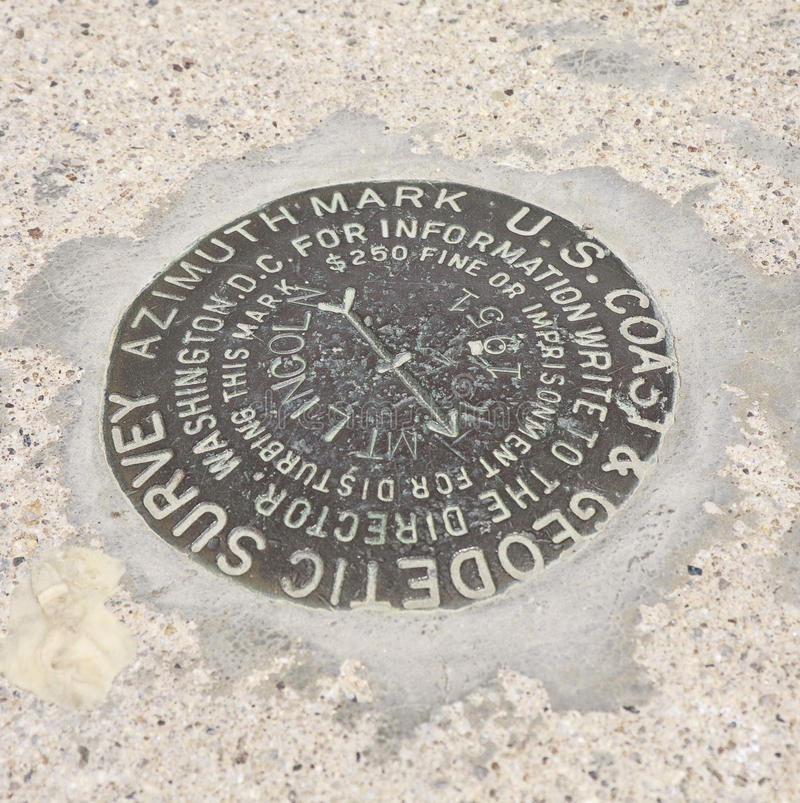 Geodetic survey marker. Close-up of a USGS geodetic survey marker, part of the National Spatial Reference System, on Mount Lincoln at the summit of Hoosier Pass stock photography