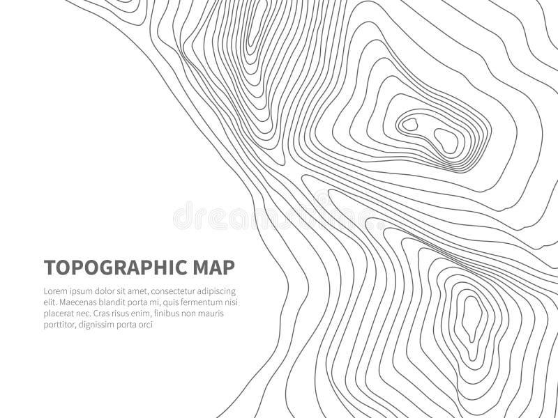 Geodezja obrysowywa ziemię Topograficzna kreskowa mapa Geograficzna góra obrysowywa wektorowego tło ilustracji