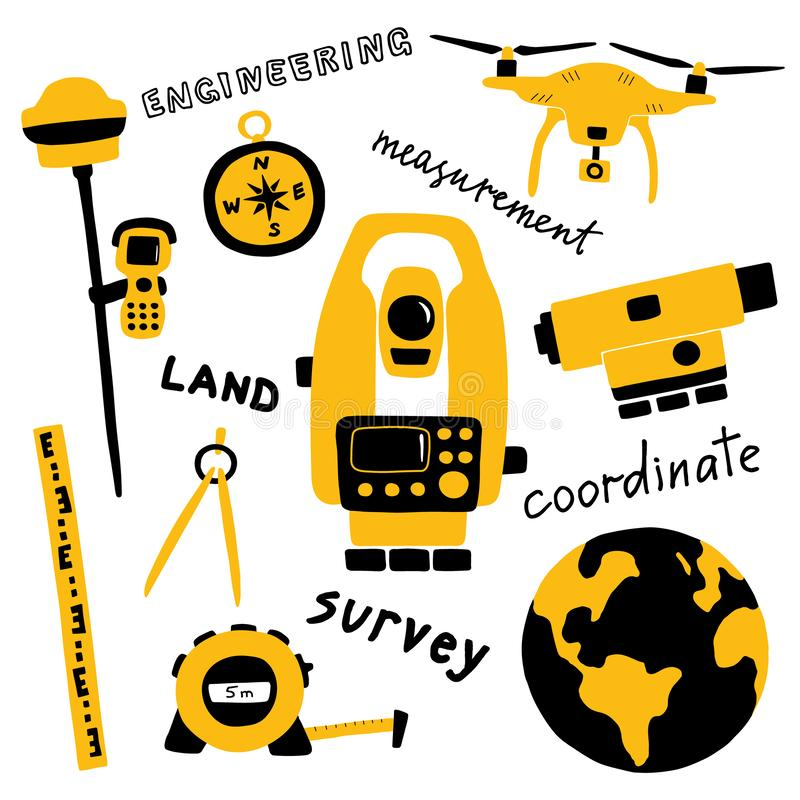 Geodezyjny pomiarowy wyposażenie dla gruntowego terenu ankiety, konstruuje technologię Śmieszna ręka rysująca doodle wektorowa il ilustracji