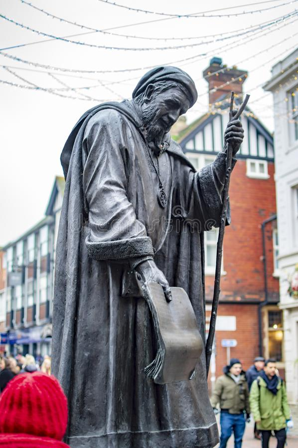 Geoffrey Chaucer Statue in de stad van Canterbury van de provincie van Kent in het UK royalty-vrije stock afbeelding