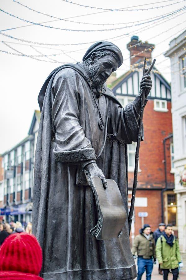 Geoffrey Chaucer Statue en la ciudad de Cantorbery del condado de Kent en Reino Unido imagen de archivo libre de regalías