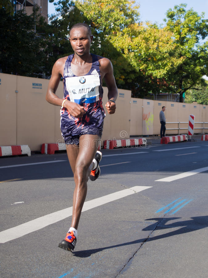 Geoffrey Mutai em Berlin Marathon 2015 imagens de stock
