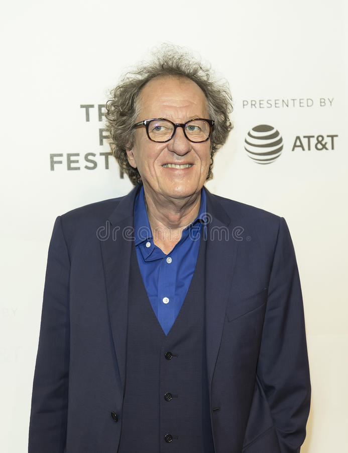 Geoffrey Rush. Oscar winner, Australian actor Geoffrey Rush arrives for the premiere of `Genius` at the 2017 Tribeca Film Festival on April 19, 2017. The royalty free stock images