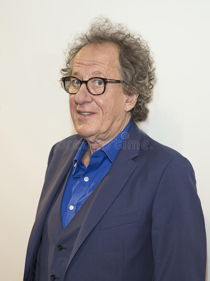Geoffrey Rush. Oscar winner, Australian actor Geoffrey Rush arrives for the premiere of `Genius` at the 2017 Tribeca Film Festival on April 19, 2017. The stock photo