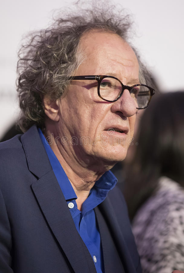Geoffrey Rush. Oscar winner, Australian actor Geoffrey Rush arrives for the premiere of `Genius` at the 2017 Tribeca Film Festival on April 19, 2017. The royalty free stock photography