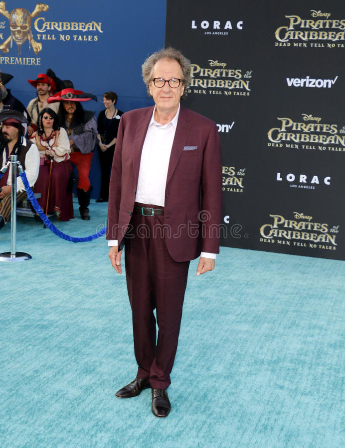 Geoffrey Rush. At the U.S. premiere of `Pirates Of The Caribbean: Dead Men Tell No Tales` held at the Dolby Theatre in Hollywood, USA on May 18, 2017 stock image