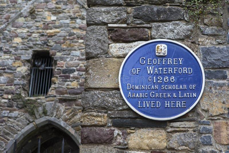 Geoffrey van de Plaque van Waterford in Waterford stock foto