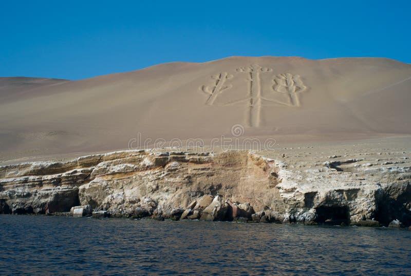 Geoglyph på Islasen Ballestas, av Peru arkivfoto