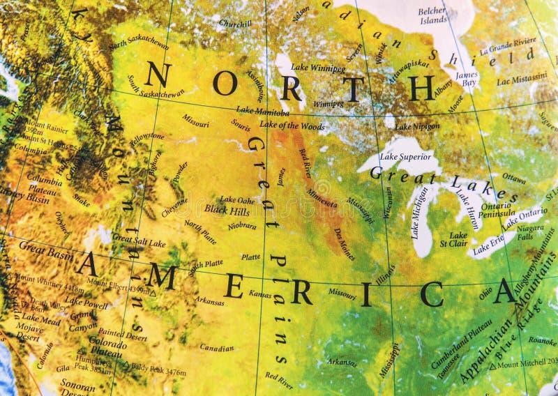Geográfico do relevo do mapa de America do Norte fotografia de stock