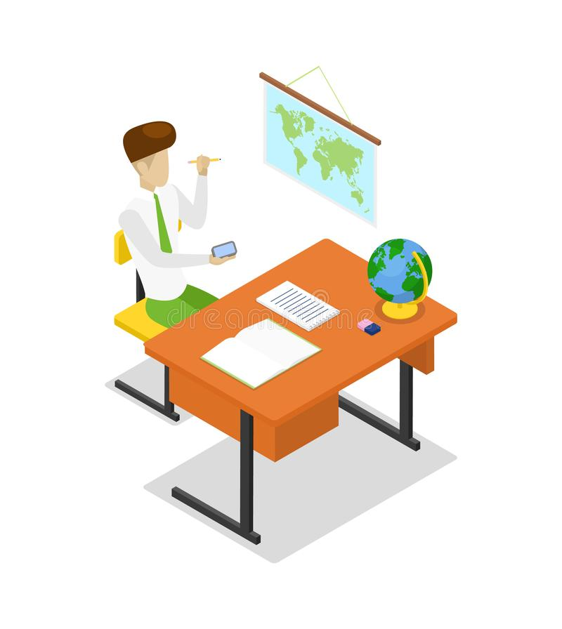 Geografia de ensino do professor ícone 3D isométrico ilustração do vetor