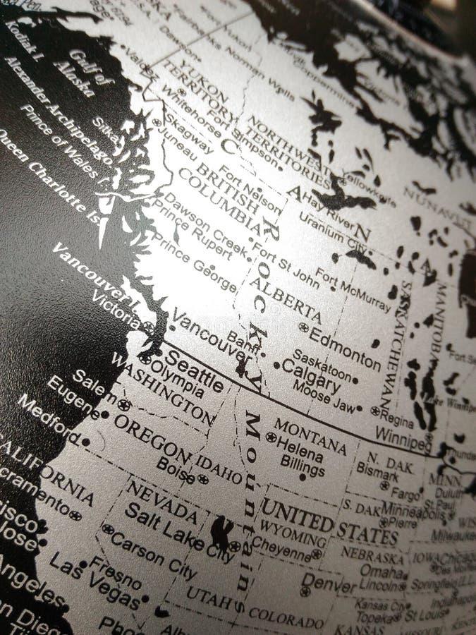 Geografia do mapa do mundo em preto e branco imagens de stock