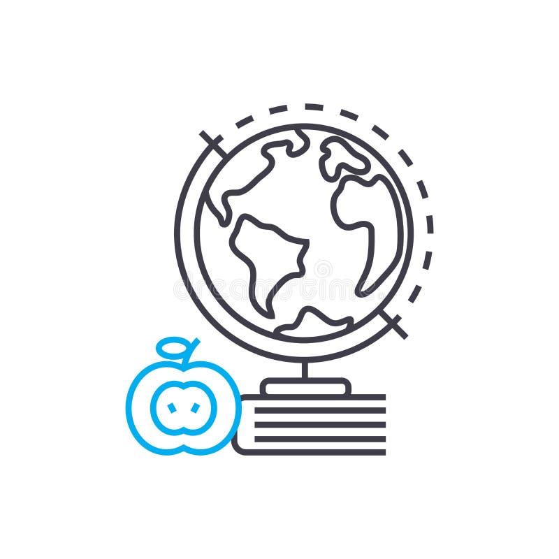 Geografia wektoru uderzenia cienka kreskowa ikona Geografia konturu ilustracja, liniowy znak, symbolu pojęcie ilustracji