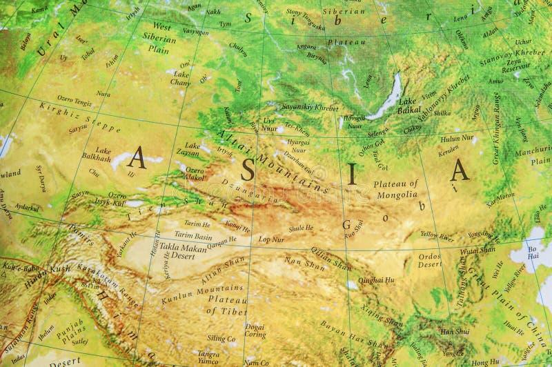 Geograficzna mapa część światowy Azja fotografia stock