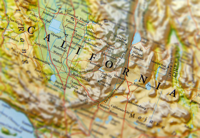 Geograficzna mapa Kalifornia stanu zakończenie obraz royalty free