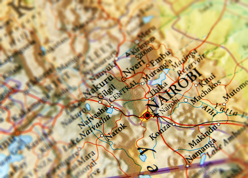 Geograficzna mapa Kenja i ostrość na kapitale Nairobia obraz royalty free