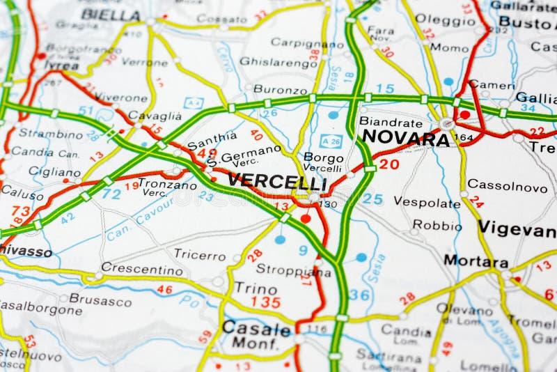 Geograficzna mapa kraj europejski Włochy z Vercelli miastem zdjęcie royalty free