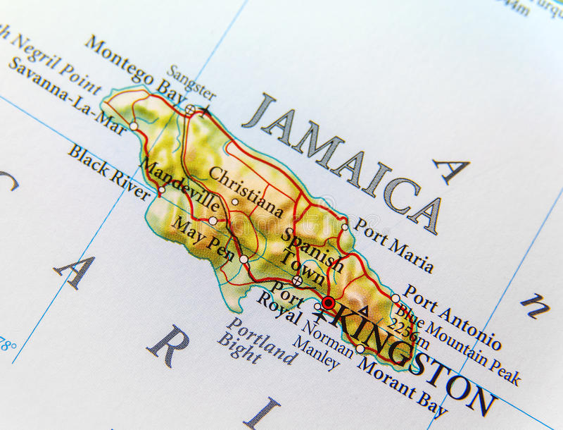 Geograficzna mapa kraju Jamajka zakończenie zdjęcia royalty free