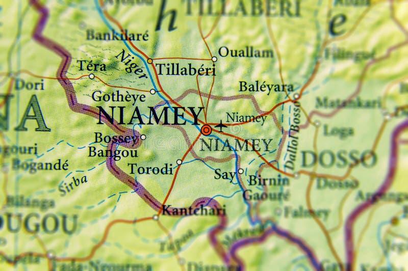 Geograficzna mapa Niger z stolicą Niamey zdjęcie royalty free