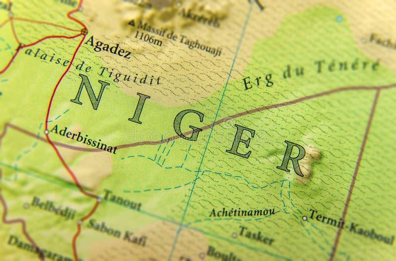 Geograficzna mapa Niger z znacząco miastami fotografia stock