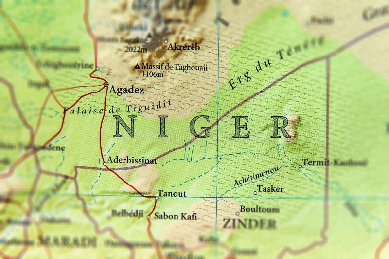 Geograficzna mapa Niger z znacząco miastami fotografia royalty free