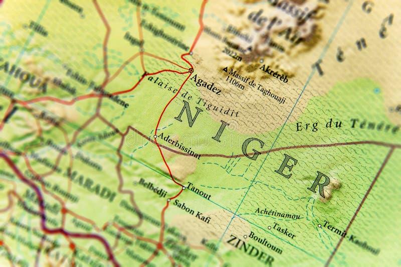 Geograficzna mapa Niger z znacząco miastami obraz royalty free