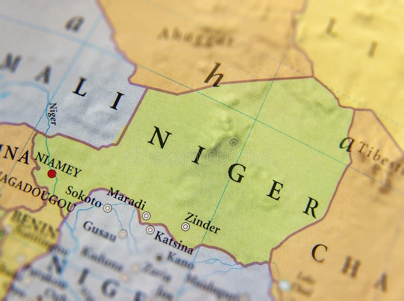 Geograficzna mapa Niger z znacząco miastami zdjęcia stock