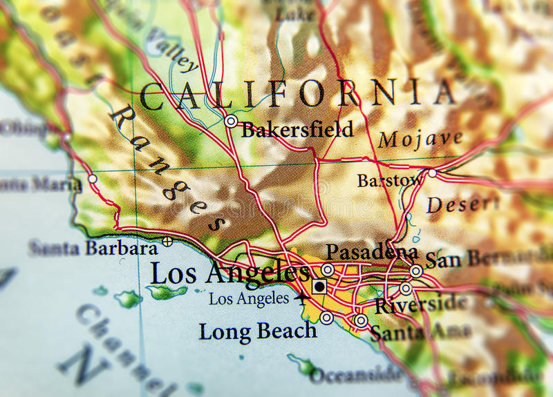 Geograficzna mapa stan usa Kalifornia z znacząco miastami obraz stock