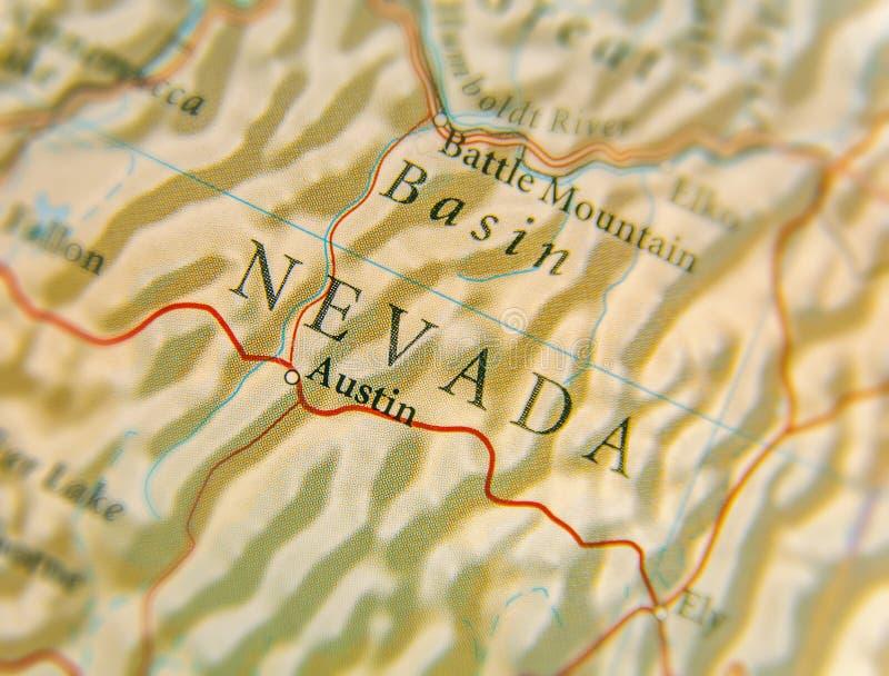 Geograficzna mapa stan usa Nevada z znacząco miastami fotografia royalty free