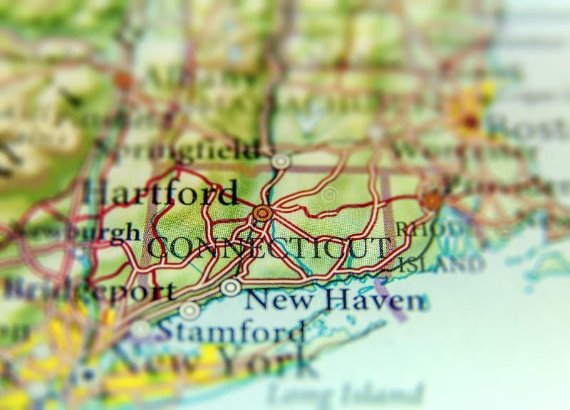 Geograficzna mapa stanu usa Connecticut i Hartford miasto zdjęcia royalty free