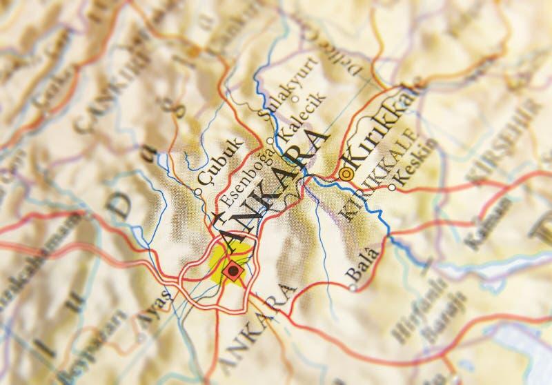 Geograficzna mapa Turcja z stolicą Ankara obraz royalty free