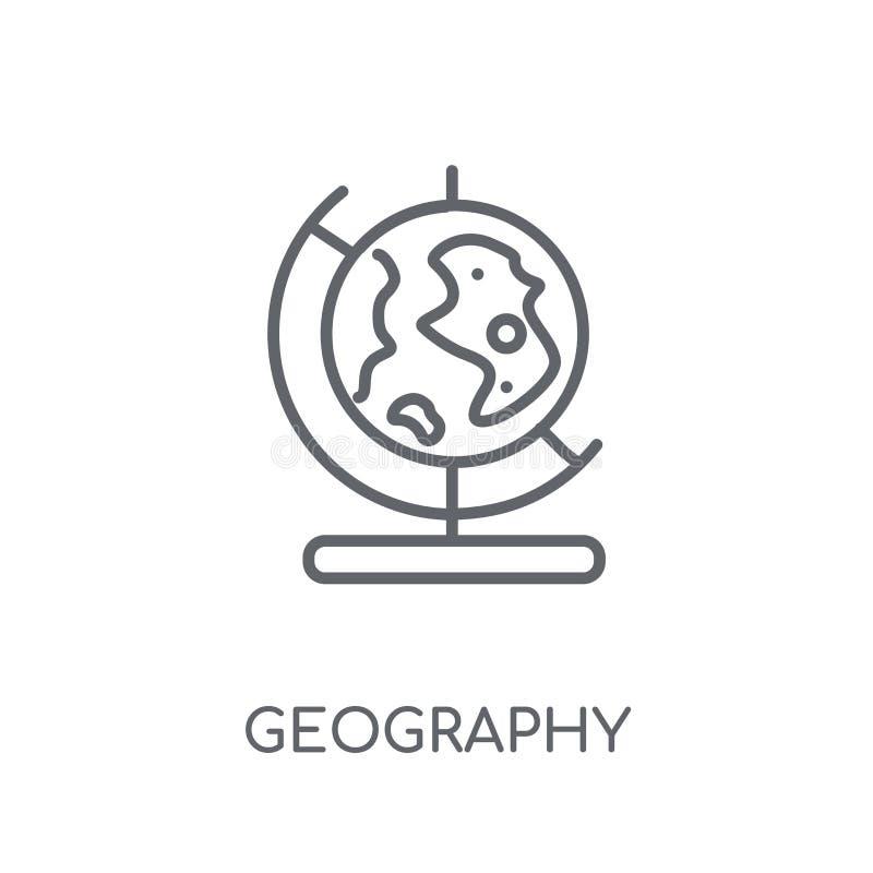 Geografii liniowa ikona Nowożytny kontur geografii logo pojęcie dalej ilustracja wektor