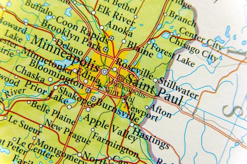 Geografische dichte kaart van Saint Paul stock foto