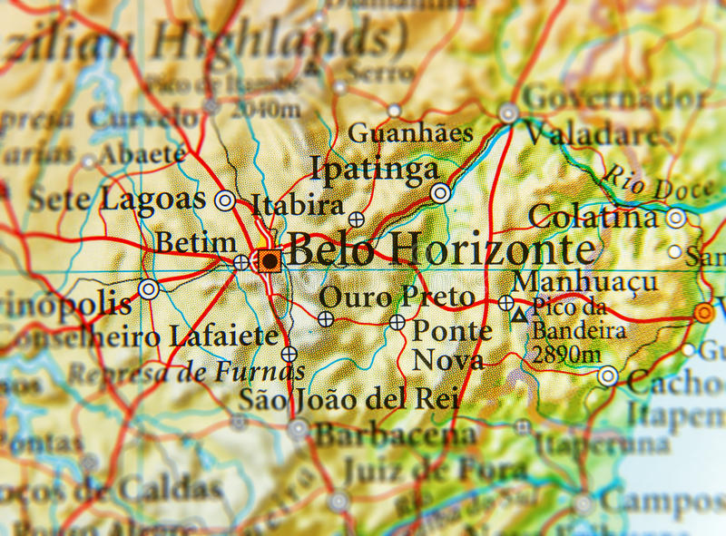 Geografische kaart van Brazilië met de stad van Belo Horizonte stock fotografie
