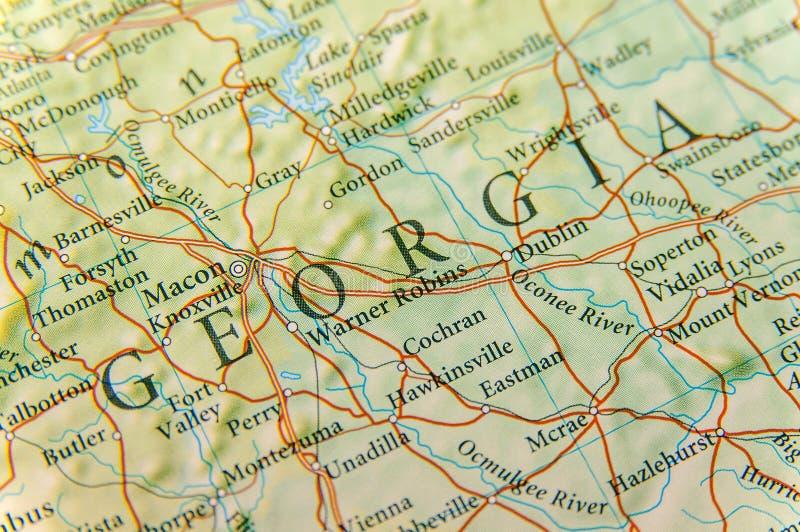Geografische kaart van de staat dicht Georgië van de V.S. royalty-vrije stock foto's