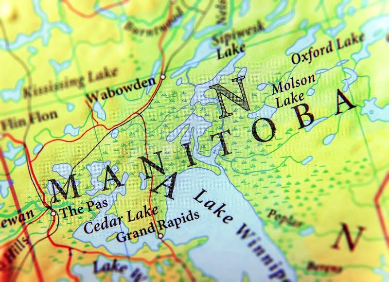 Geografische kaart van de staat Manitoba van Canada met belangrijke steden royalty-vrije stock foto