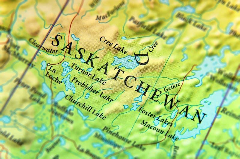 Geografische kaart van de staat Saskatchewan van Canada met belangrijke steden royalty-vrije stock foto