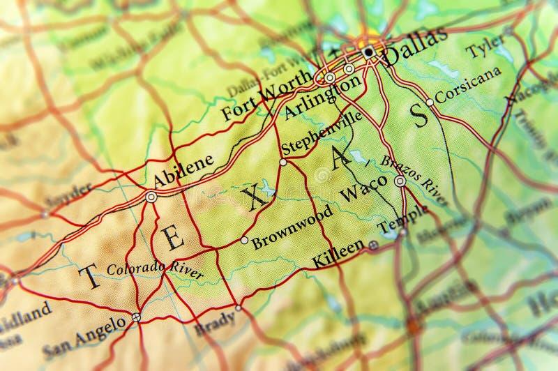 Geografische kaart van de staat Texas van de V.S. en de stad van Dallas stock afbeelding