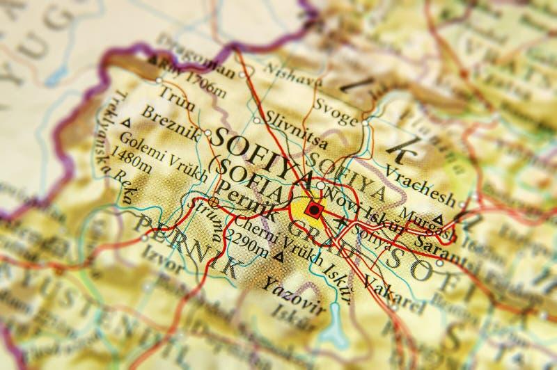 Geografische kaart van Europees land Bulgarije met de stad van Sofia stock fotografie