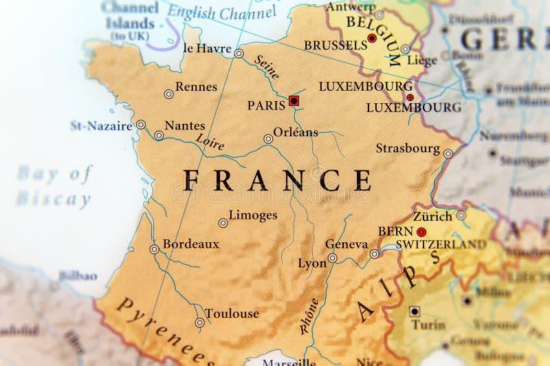 Geografische Kaart Van Europees Land Frankrijk Met Belangrijke
