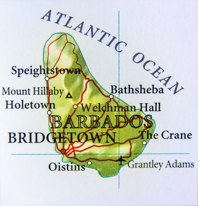Geografische kaart van het land van Barbados met belangrijke steden stock afbeelding