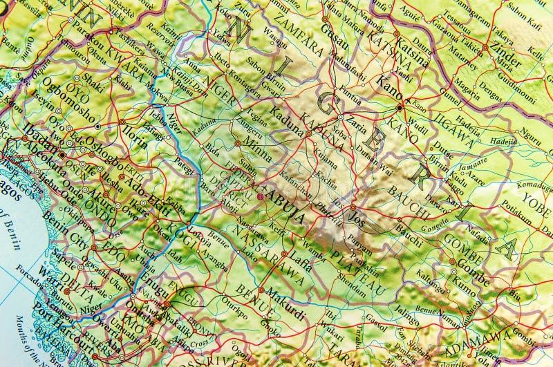 Geografische kaart van Nigeria met belangrijke steden stock foto