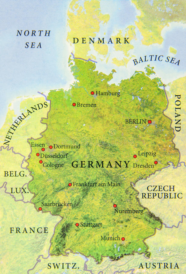 Geografisk översikt av den europeiska Tysklandlandsöversikten royaltyfri illustrationer