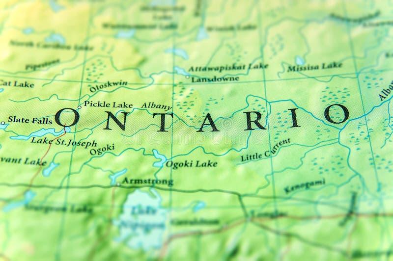 Geografisk översikt av den Kanada staten Ontario med viktiga städer arkivbild