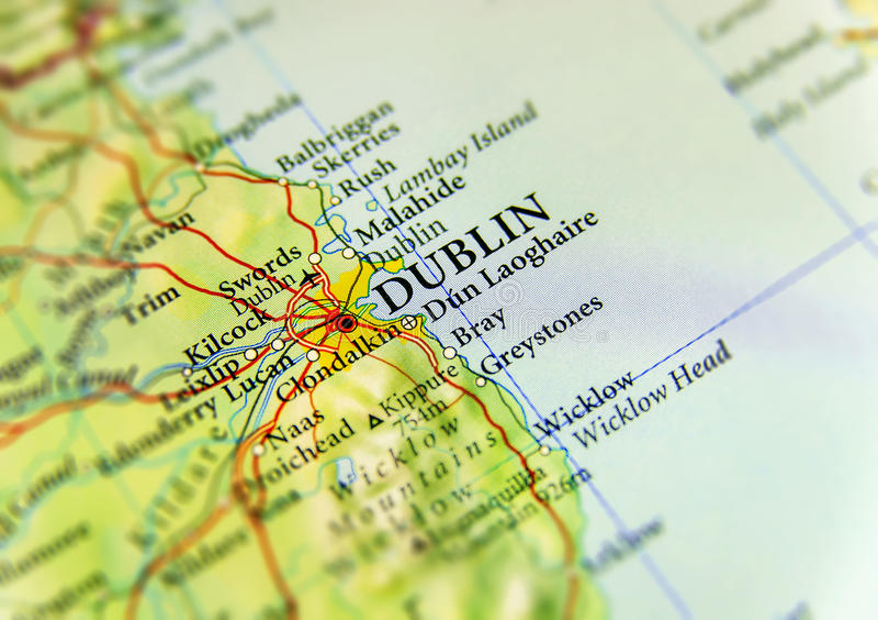 Geografisk översikt av det europeiska landet Irland med Dublin huvudstaden royaltyfria foton