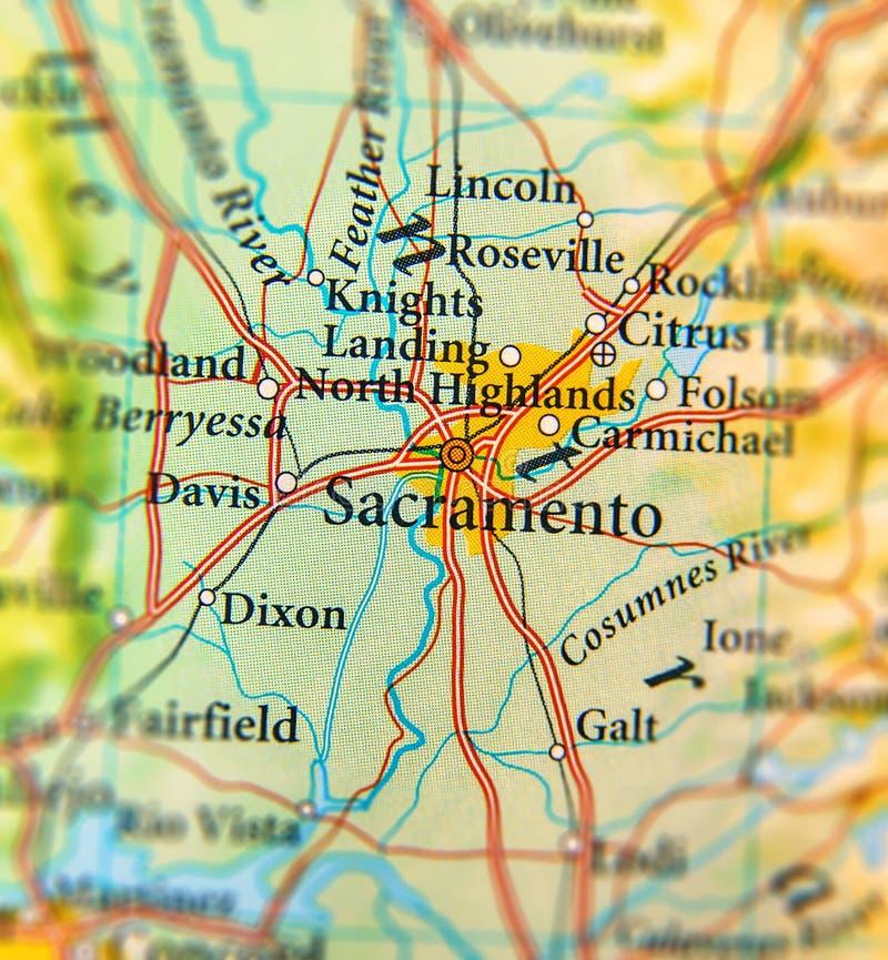 Geografisk översikt av det Sacramento stadsslutet arkivfoto