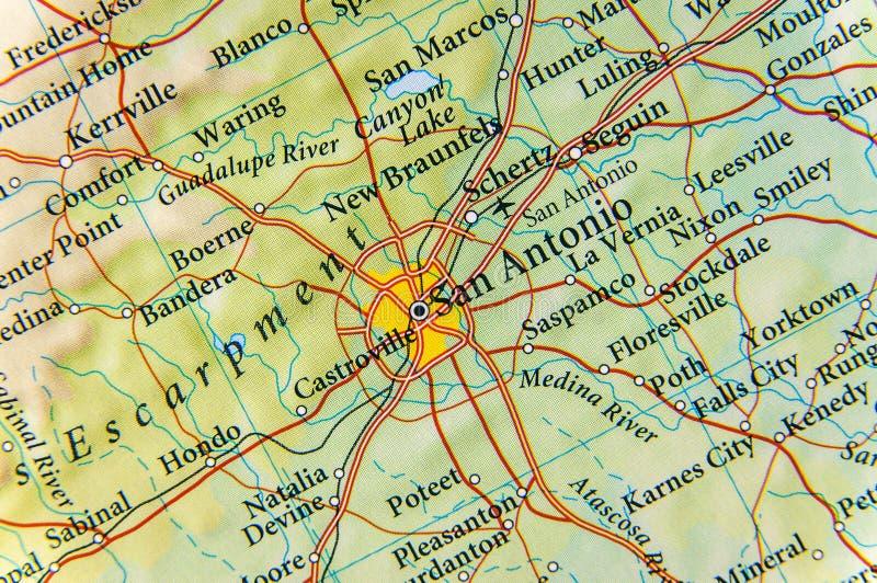 Geografisk översikt av det San Antonio slutet royaltyfri bild
