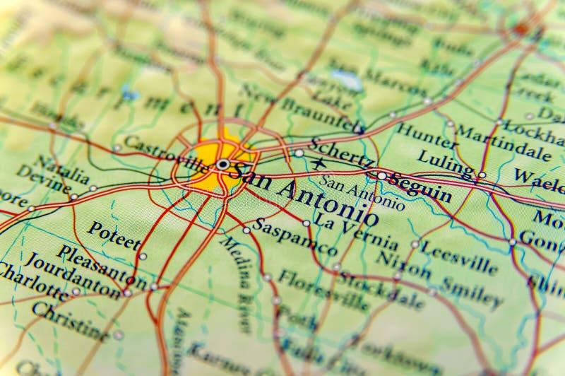 Geografisk översikt av det San Antonio slutet royaltyfri foto