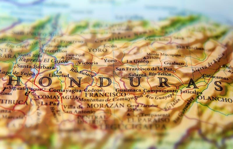Geografisk översikt av det Sydamerika landsHonduras slutet arkivfoton