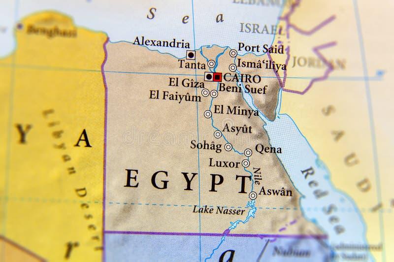 Geografisk översikt av Egypten med viktiga städer royaltyfria foton