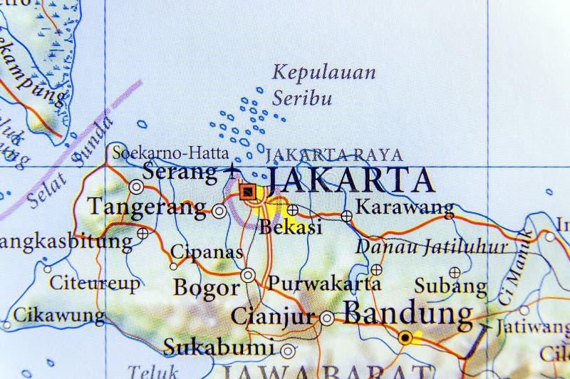Geografisk översikt av Indonesien huvudstaden Jakarta arkivfoto